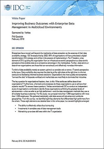 IDC Research Report: Improving Business Outcomes with Enterprise Data Management in Multicloud Environments